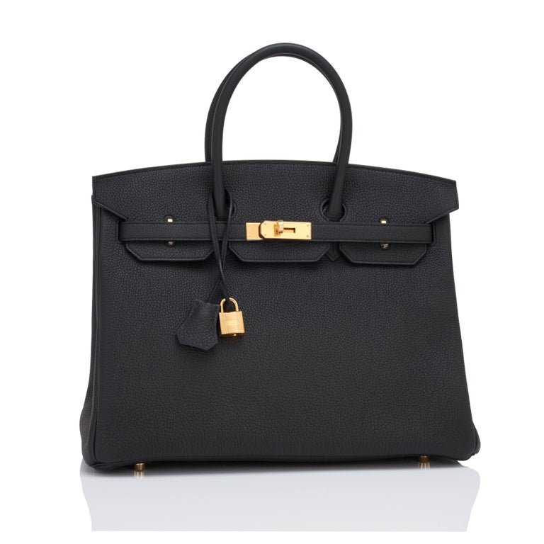 Hermes Black Togo 35cm Birkin Gold Hardware Power Birkin Y Stamp Brand New in Box. Store fresh. Pristine Condition (with plastic on hardware).  Just purchased from Hermes store; bag bears new 2020 interior Y stamp. Perfect gift! Comes with lock,