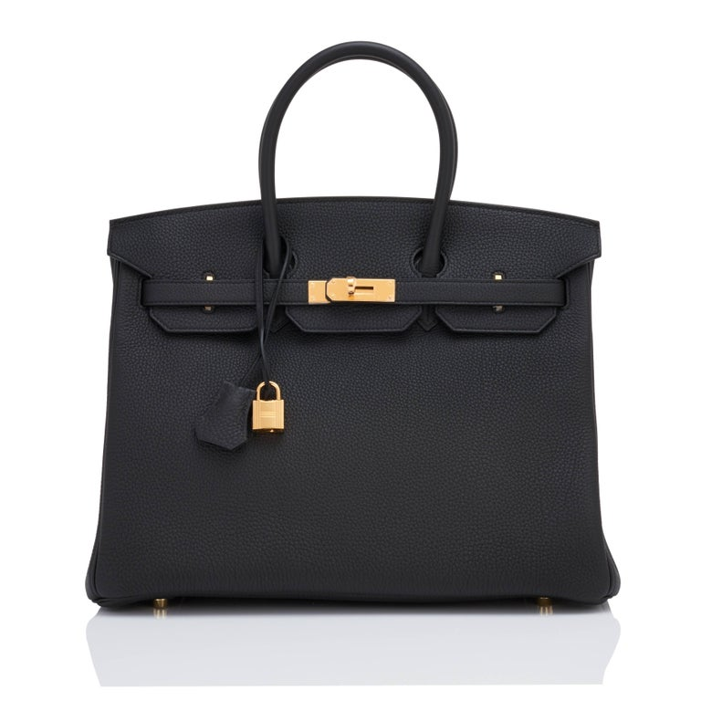 Hermes Birkin 35cm Black Togo Gold Hardware Y Stamp Bag, 2020 In New Condition For Sale In New York, NY
