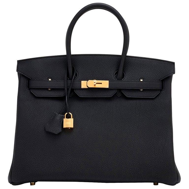 Hermes Birkin 35cm Black Togo Gold Hardware Y Stamp Bag, 2020 For Sale