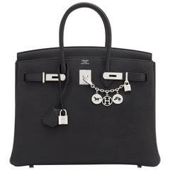 Hermes Birkin 35cm Black Togo Palladium Hardware Bag NEW