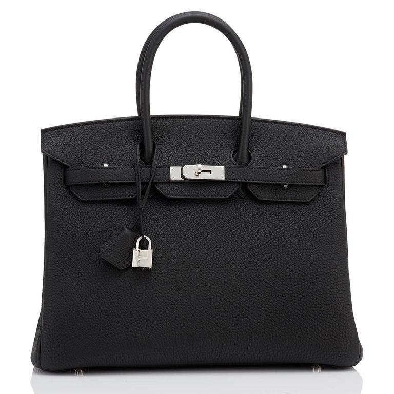 Women's or Men's Hermes Birkin 35cm Black Togo Palladium Hardware Bag Z Stamp, 2021 For Sale