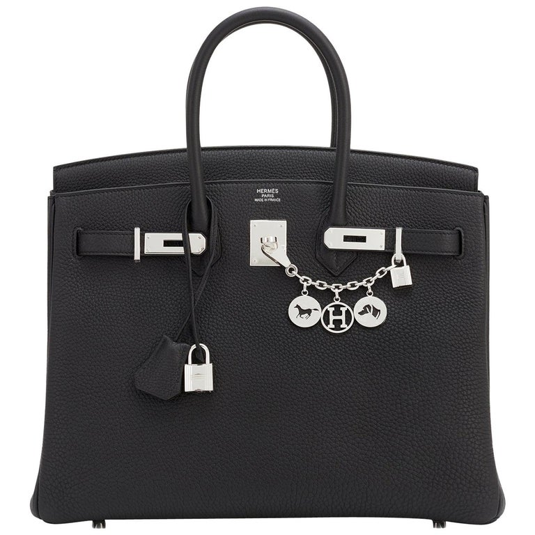 Hermes Birkin 35cm Black Togo Palladium Hardware Bag Z Stamp, 2021 For Sale