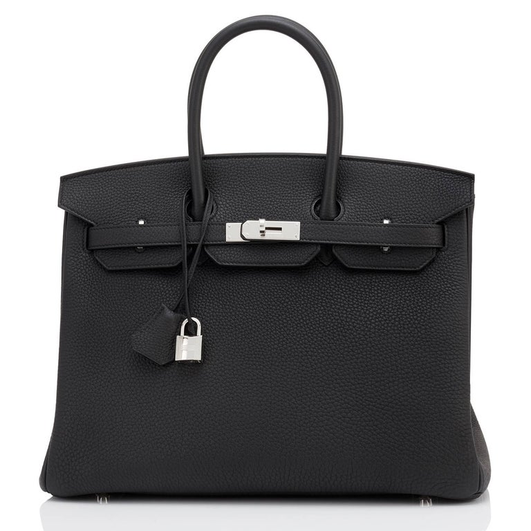 Hermes Black Togo 35cm Birkin Palladium Hardware Bag NEW D Stamp, 2019 Perfect gift! Comes with lock, keys, clochette, sleeper, raincoat, and orange Hermes box.  Just purchased from Hermes store; bag bears new 2019 interior D stamp. Brand New in