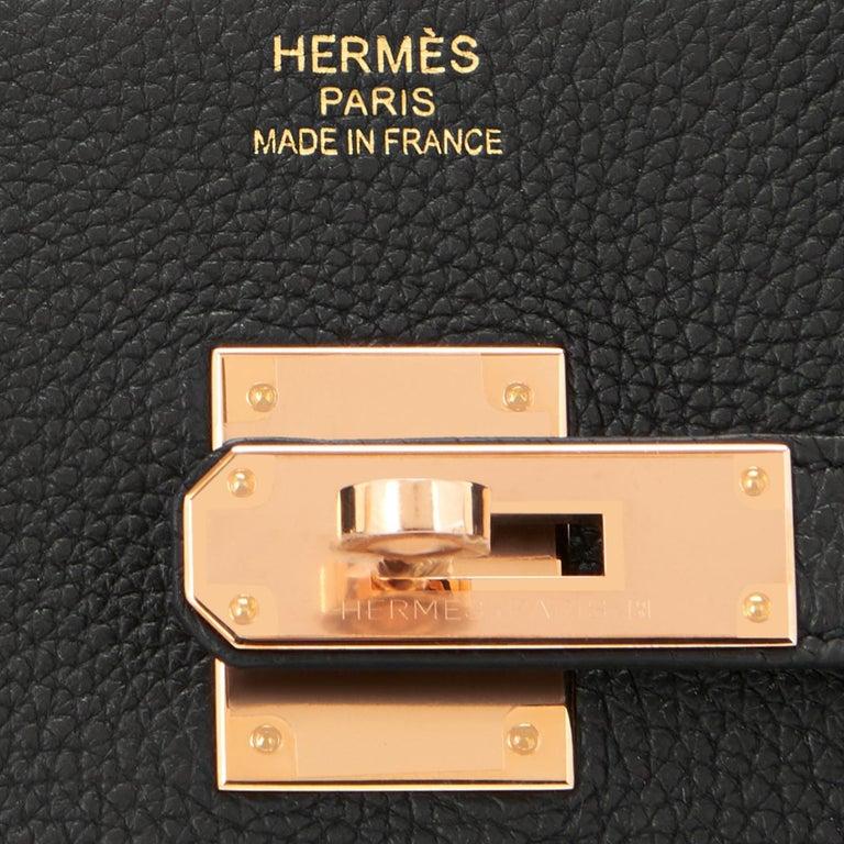 Hermes Birkin 35cm Black Togo Rose Gold Hardware D Stamp Bag, 2019 For Sale 7