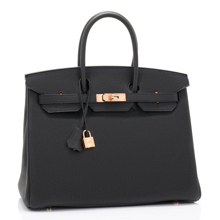 Women's or Men's Hermes Birkin 35cm Black Togo Rose Gold Hardware D Stamp Bag, 2019 For Sale