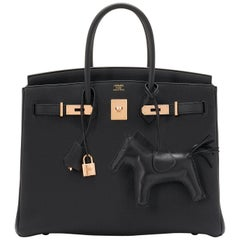 Hermes Birkin 35cm Black Togo Rose Gold Hardware D Stamp Bag, 2019