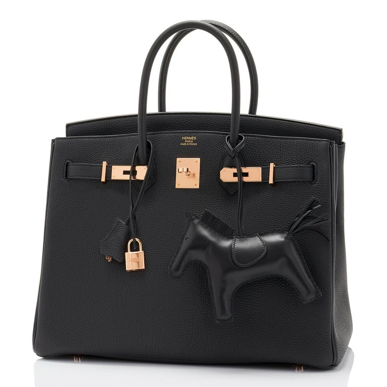 Hermes Black Togo 35cm Birkin Rose Gold Hardware Power Birkin Y Stamp 2020 Brand New in Box. Store fresh. Pristine Condition (with plastic on hardware).  Just purchased from Hermes store; bag bears new 2020 interior Y stamp. Perfect gift! Comes with