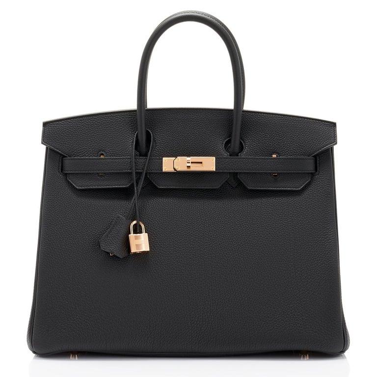 Hermes Birkin 35cm Black Togo Rose Gold Hardware Y Stamp Bag, 2020 In New Condition For Sale In New York, NY