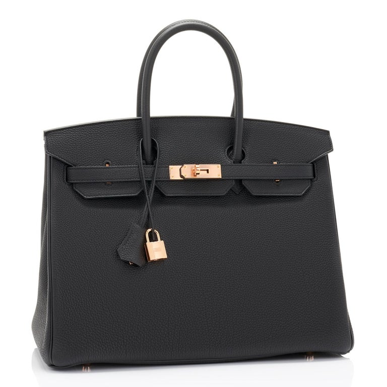 Women's or Men's Hermes Birkin 35cm Black Togo Rose Gold Hardware Y Stamp Bag, 2020 For Sale