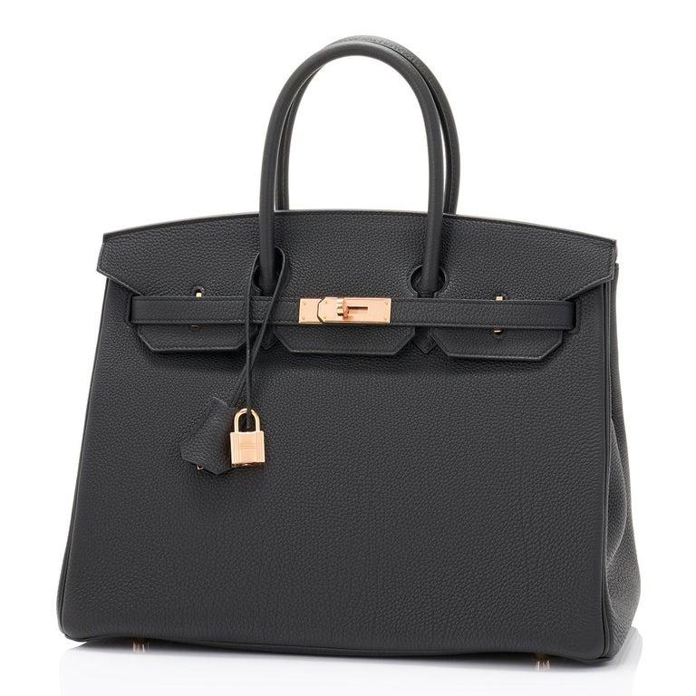 Hermes Birkin 35cm Black Togo Rose Gold Hardware Y Stamp Bag, 2020 For Sale 1