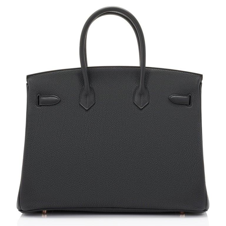 Hermes Birkin 35cm Black Togo Rose Gold Hardware Y Stamp Bag, 2020 For Sale 2