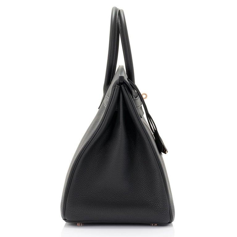 Hermes Birkin 35cm Black Togo Rose Gold Hardware Y Stamp Bag, 2020 For Sale 3