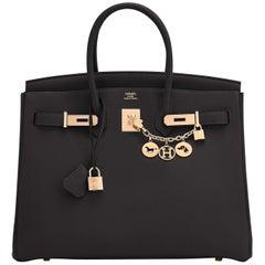 Hermes Birkin 35cm Black Togo Rose Gold Hardware Y Stamp Bag, 2020