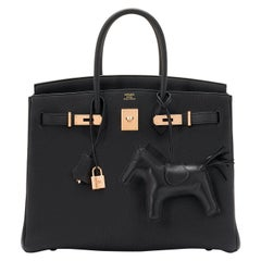 Hermes Birkin 35cm Black Togo Rose Gold Hardware Y Stamp Bag, 2020