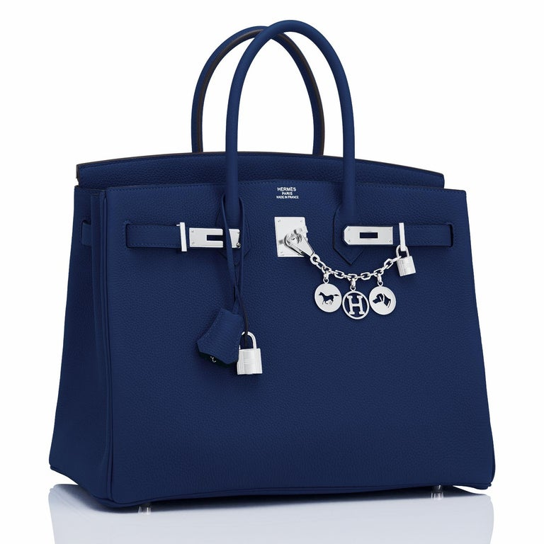 Hermes Birkin 35cm Blue Nuit Navy Togo Palladium Birkin Bag Y Stamp, 2020 The perfect navy Birkin 35cm has arrived for spring summer! Just purchased from Hermes store; bag bears new 2020 interior Y Stamp  Brand New in Box. Store fresh. Pristine