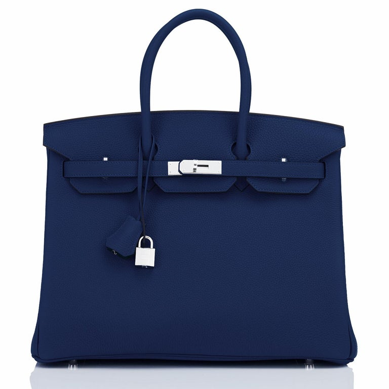 Hermes Birkin 35cm Blue Nuit Deep Navy Togo Palladium Birkin Bag Y Stamp, 2020 In New Condition For Sale In New York, NY