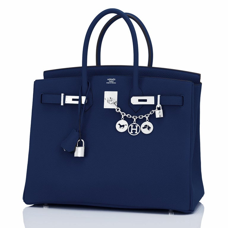 Women's or Men's Hermes Birkin 35cm Blue Nuit Deep Navy Togo Palladium Birkin Bag Y Stamp, 2020 For Sale