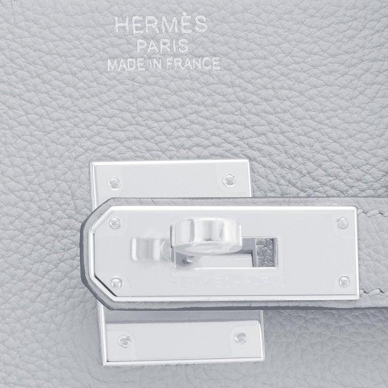 Hermes Birkin 35cm Blue Pale Bleu Palladium Hardware Bag Y Stamp, 2020 For Sale 7