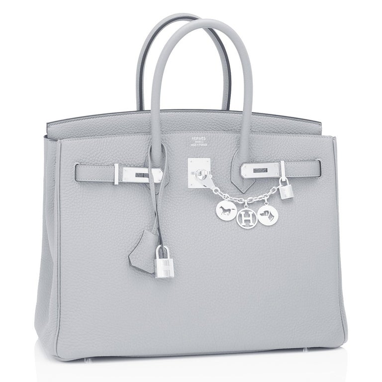 Guaranteed Authentic Hermes Birkin 35cm Blue Pale Bleu Palladium Hardware Bag Y Stamp, 2020 Just purchased from Hermes store; bag bears new interior 2020 Y Stamp. Brand New in Box in Store Fresh, Pristine Condition (with plastic on hardware) Perfect