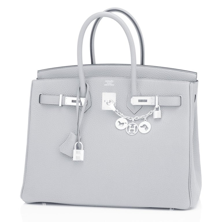 Hermes Birkin 35cm Blue Pale Bleu Palladium Hardware Bag Y Stamp, 2020 In New Condition For Sale In New York, NY