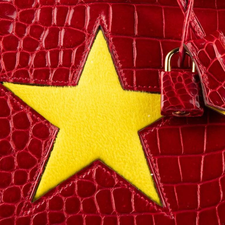 "1stdibs Exclusive Hermès Birkin 35cm Braise ""China Flag"" Porosus Crocodile  For Sale 5"