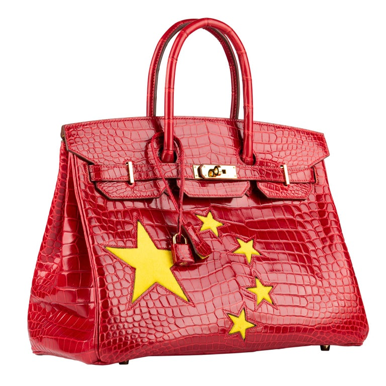 """1stdibs Exclusives From Three Over Six  Brand: Hermès  Style: Birkin """"Special Order - China Flag"""" Size: 35cm Color: Braise and Yellow  Leather: Shiny Porosus Crocodile and Pony Hair Hardware: Gold Stamp: 2011 O  Condition: Vintage excellent: This"""