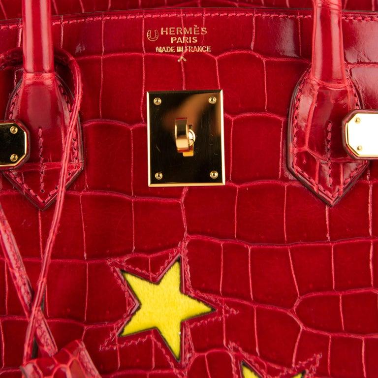"Red 1stdibs Exclusive Hermès Birkin 35cm Braise ""China Flag"" Porosus Crocodile  For Sale"