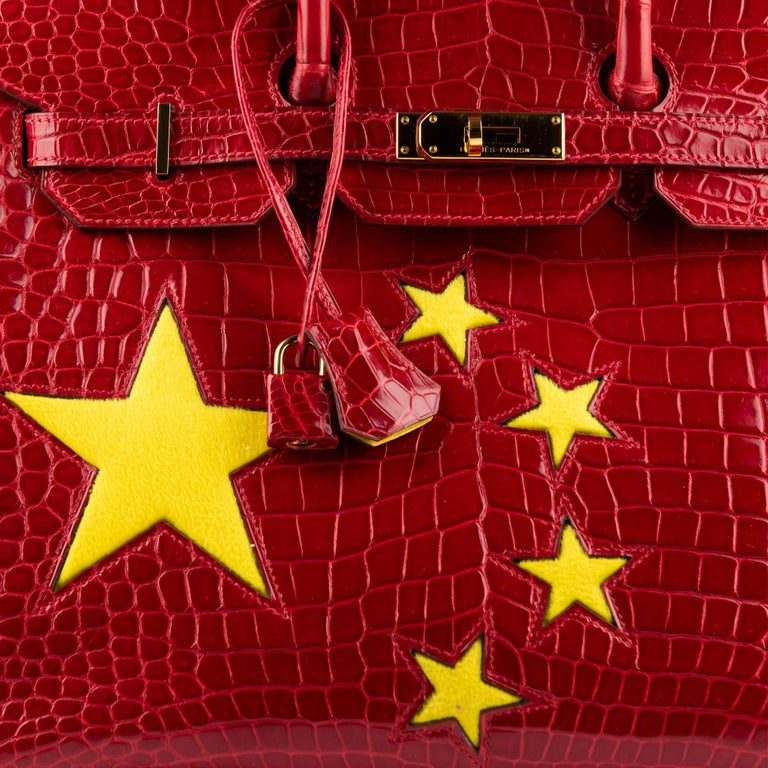 """1stdibs Exclusive Hermès Birkin 35cm Braise """"China Flag"""" Porosus Crocodile  In Excellent Condition For Sale In Sydney, New South Wales"""