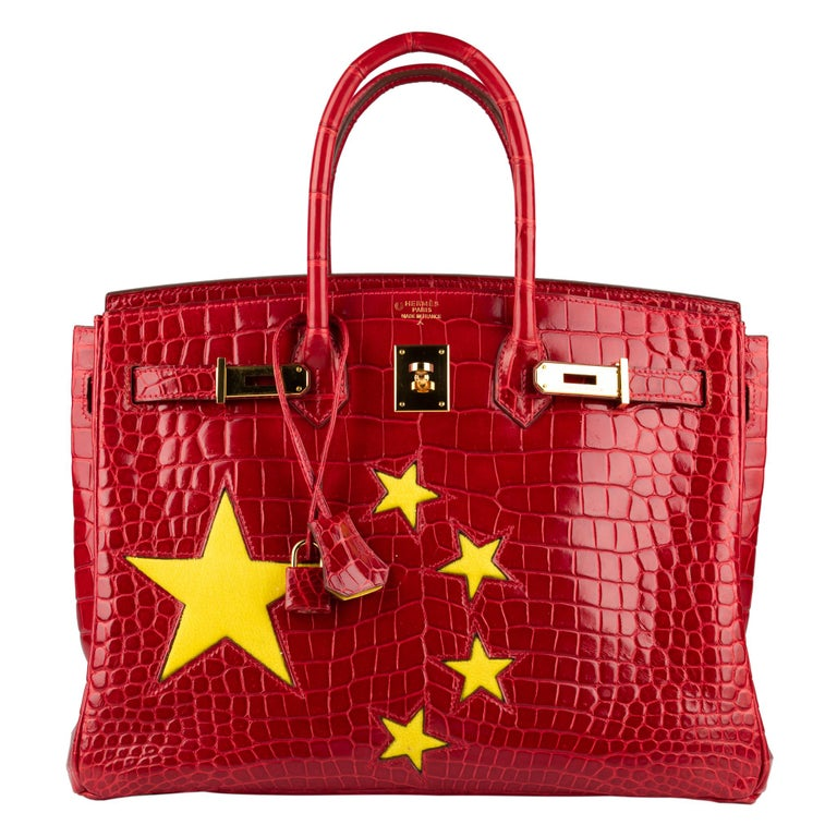 "Women's or Men's 1stdibs Exclusive Hermès Birkin 35cm Braise ""China Flag"" Porosus Crocodile  For Sale"