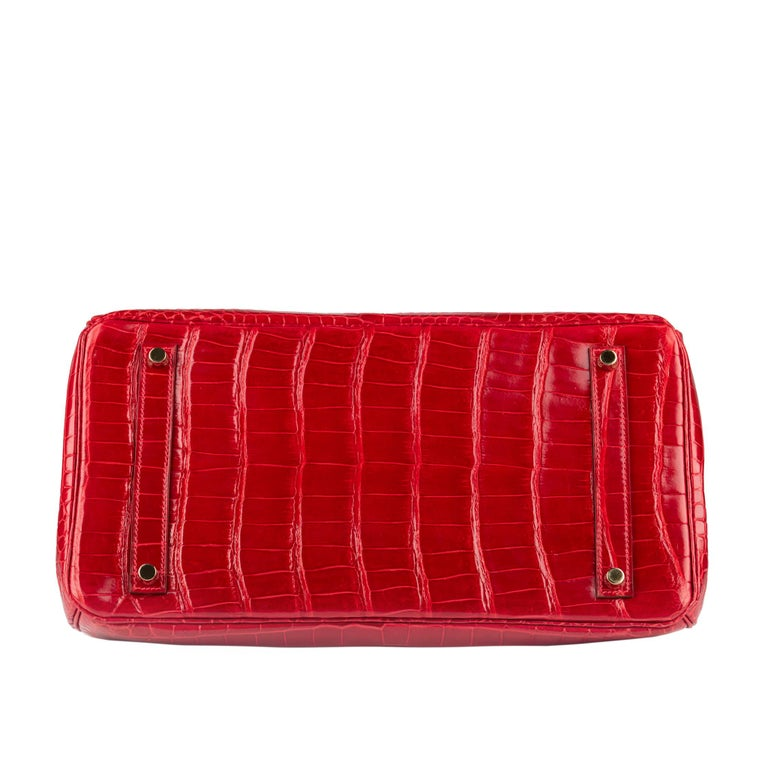 "1stdibs Exclusive Hermès Birkin 35cm Braise ""China Flag"" Porosus Crocodile  For Sale 1"