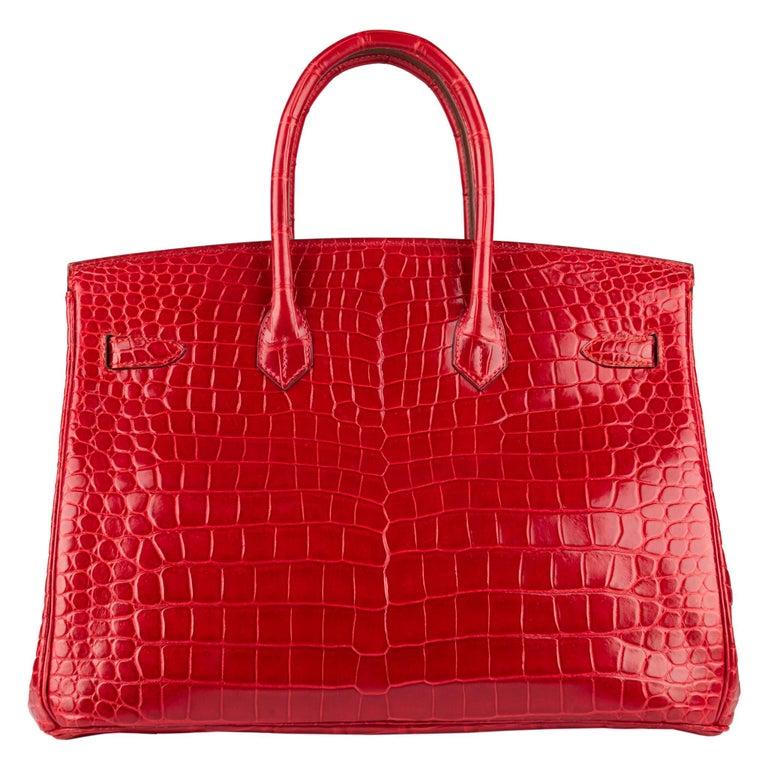"1stdibs Exclusive Hermès Birkin 35cm Braise ""China Flag"" Porosus Crocodile  For Sale 2"