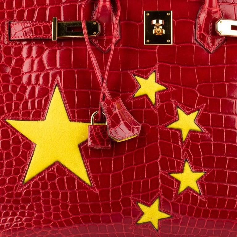 "1stdibs Exclusive Hermès Birkin 35cm Braise ""China Flag"" Porosus Crocodile  For Sale 3"
