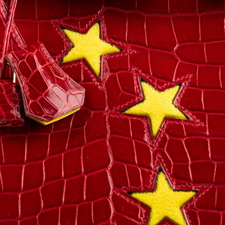"1stdibs Exclusive Hermès Birkin 35cm Braise ""China Flag"" Porosus Crocodile  For Sale 4"