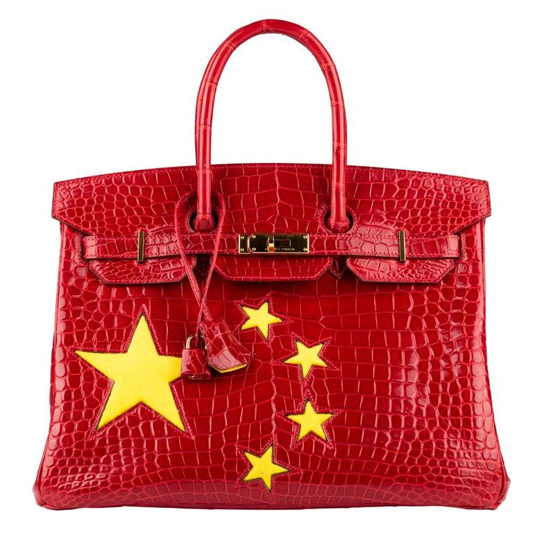 "Hermès Birkin 35cm Braise ""China Flag"" Porosus Crocodile Gold Hardware For Sale"