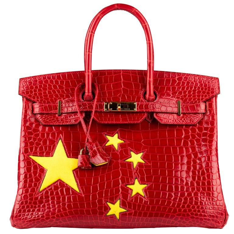 "1stdibs Exclusive Hermès Birkin 35cm Braise ""China Flag"" Porosus Crocodile  For Sale"
