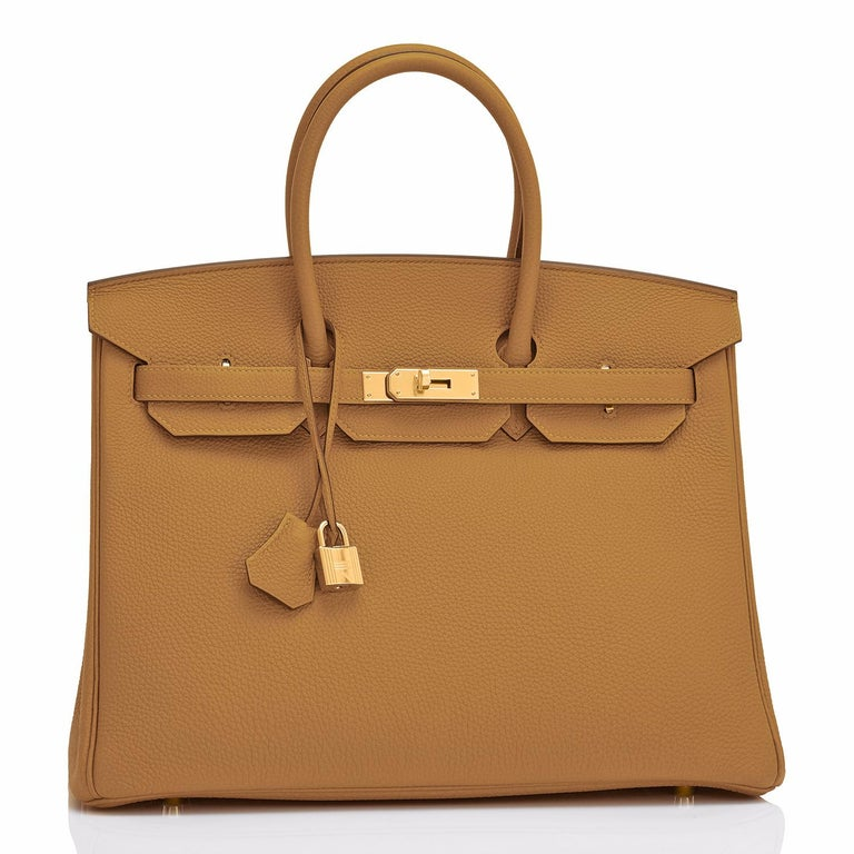 Hermes Birkin 35cm Bronze Dore Togo Gold Tan Khaki Bag Y Stamp, 2020 Just purchased from Hermes store! Bag bears new interior 2020 Y Stamp! Brand New in Box. Store Fresh. Pristine Condition (with plastic on hardware).  Perfect gift! Comes with lock,