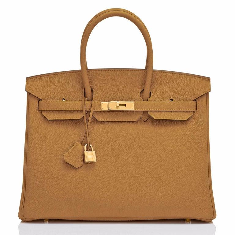 Brown Hermes Birkin 35cm Bronze Dore Togo Gold Tan Bag Y Stamp, 2020 For Sale