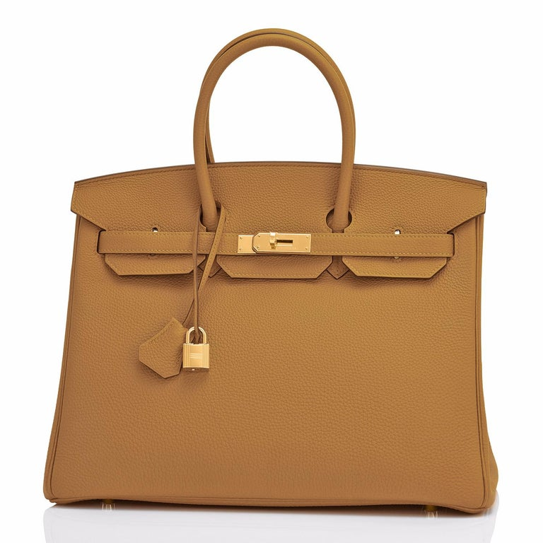 Hermes Birkin 35cm Bronze Dore Togo Gold Tan Bag Y Stamp, 2020 In New Condition For Sale In New York, NY