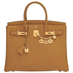 Hermes Birkin 35cm Bronze Dore Togo Gold Tan Bag Y Stamp, 2020