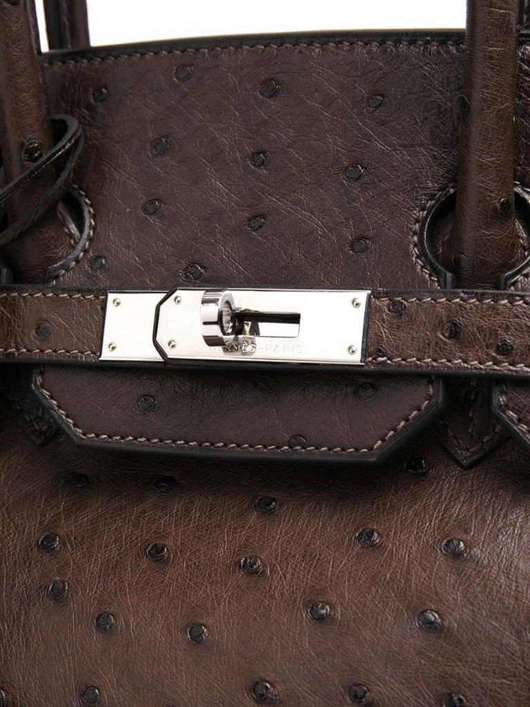 Black Hermès Birkin 35cm Brown Ostrich