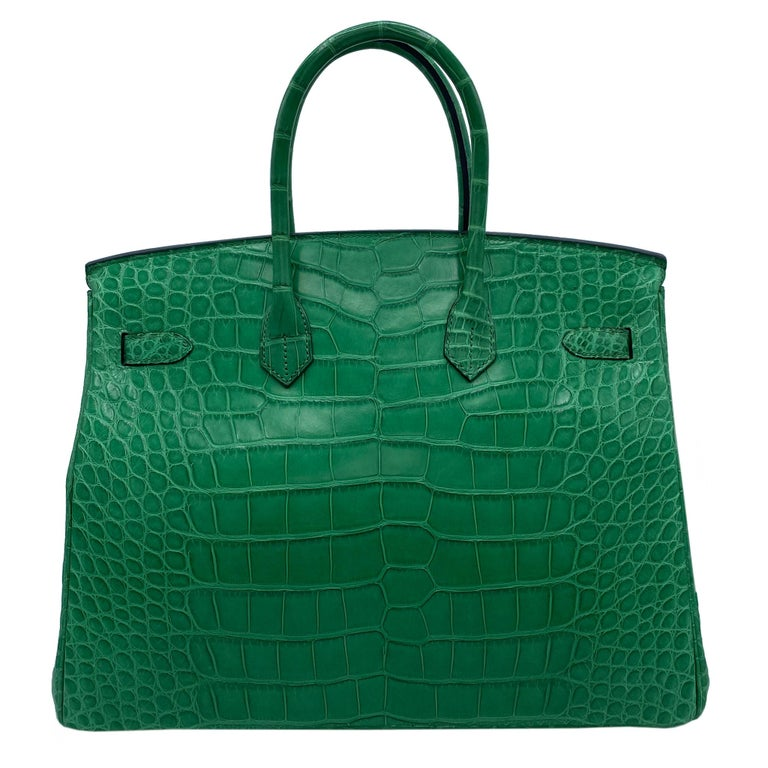 Brand: Hermès  Style: Birkin Size: 35cm Color: Cactus Leather: Matte Alligator  Hardware: Palladium  Condition: Mint condition, The item is in near pristine condition and has not been used or carried, however may exhibit small flaws.  Accompanied