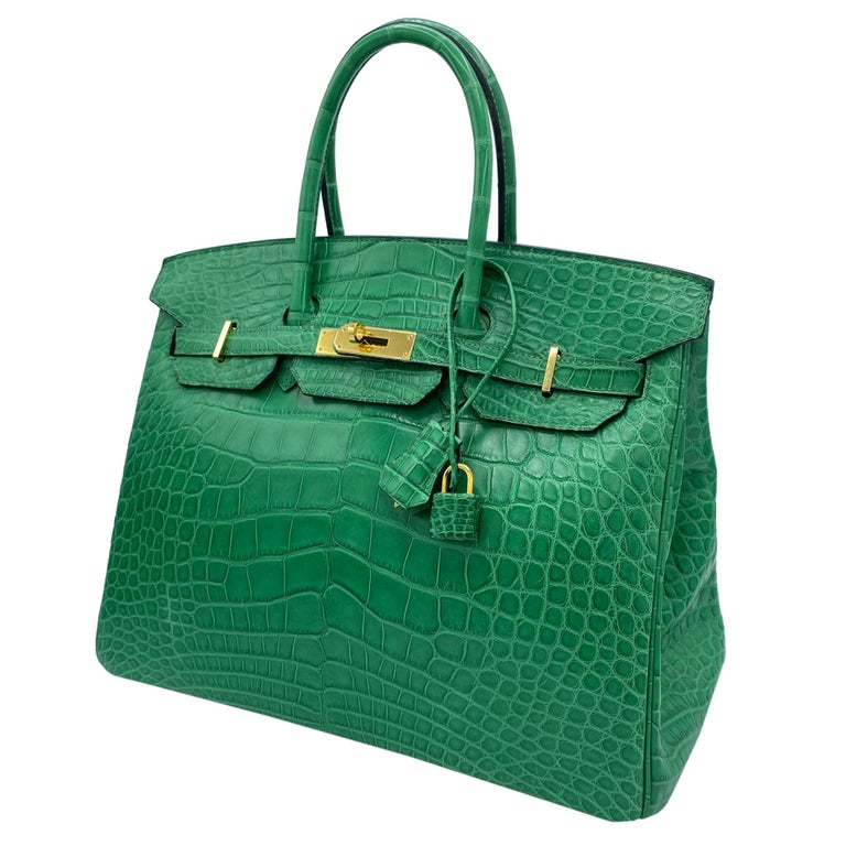 Blue Hermès Birkin 35cm Cactus Matte Alligator Palladium Hardware For Sale