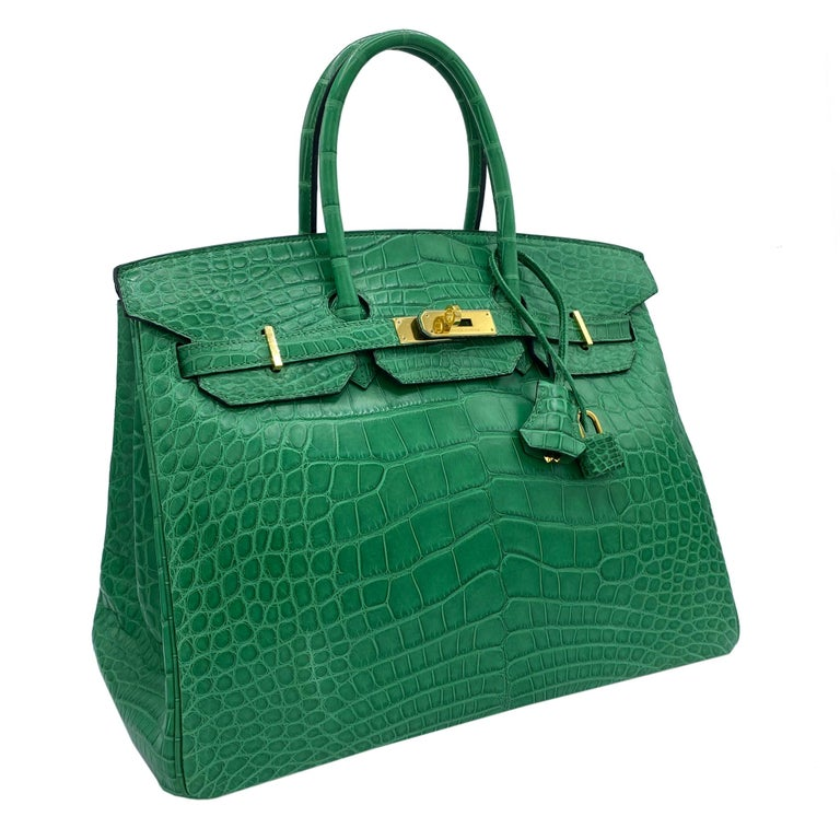 Hermès Birkin 35cm Cactus Matte Alligator Palladium Hardware In New Condition For Sale In Jakarta, IN