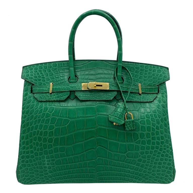 Women's or Men's Hermès Birkin 35cm Cactus Matte Alligator Palladium Hardware For Sale