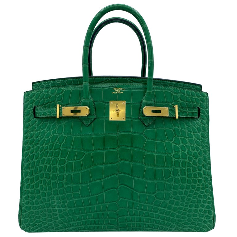 Hermès Birkin 35cm Cactus Matte Alligator Palladium Hardware For Sale