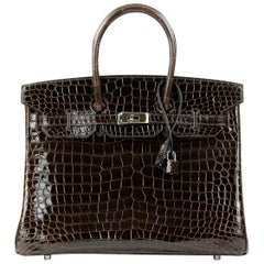 Hermes Birkin 35cm Chocolate Brown Porosus Crocodile PHW