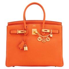 Hermes Birkin 35cm Classic Orange Togo Gold Hardware New with Box