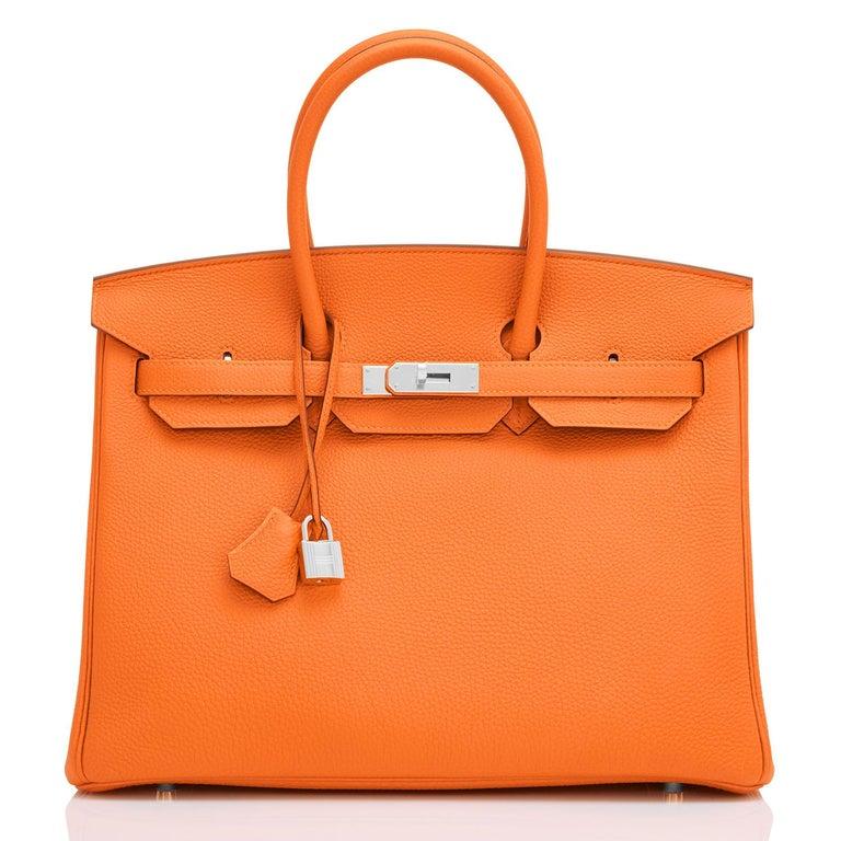 Hermes Birkin 35cm Classic Orange Togo Palladium Hardware NEW In New Condition For Sale In New York, NY