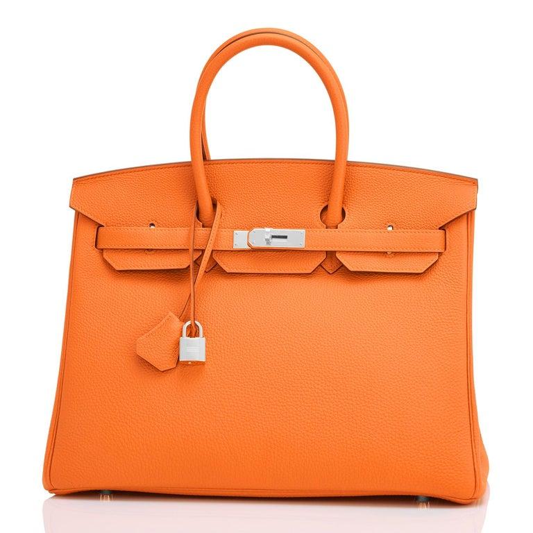 Women's or Men's Hermes Birkin 35cm Classic Orange Togo Palladium Hardware NEW For Sale