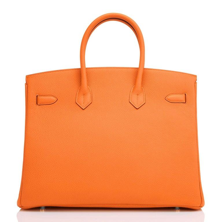 Hermes Birkin 35cm Classic Orange Togo Palladium Hardware NEW For Sale 1
